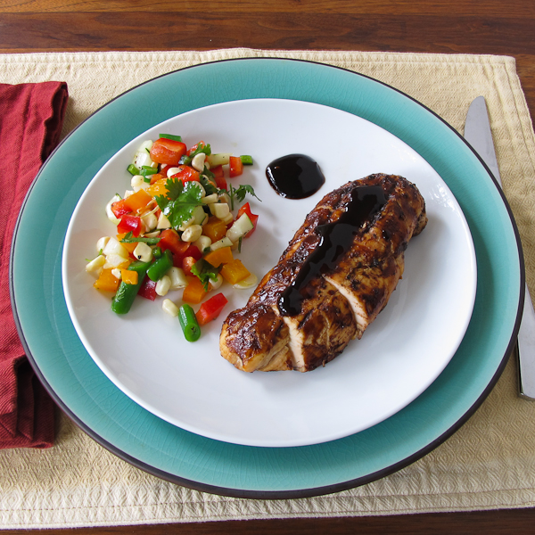 balsamic grilled chicken and chopped veg salad