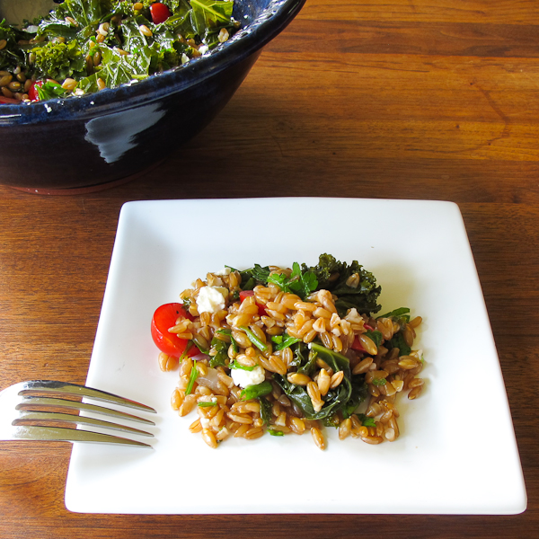 farro salad with kale cherry tomatoes feta
