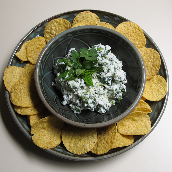 roasted poblano and ricotta with tortilla chips
