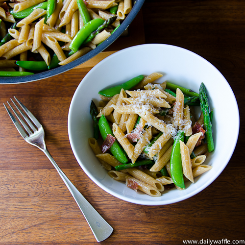 Spring Penne with Sugar Snap Peas and Asparagus | DailyWaffle