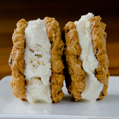 oatmeal choc chip ice cream sandwich duo