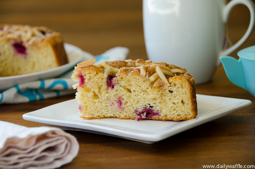 sour cherry coffee cake slice