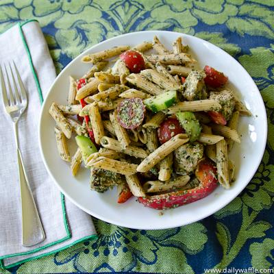 chicken tikka pasta salad full plate – DailyWaffle