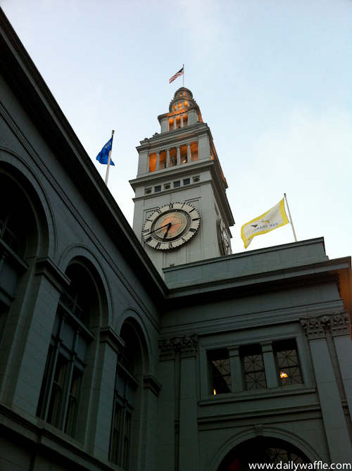 ferry building at dusk