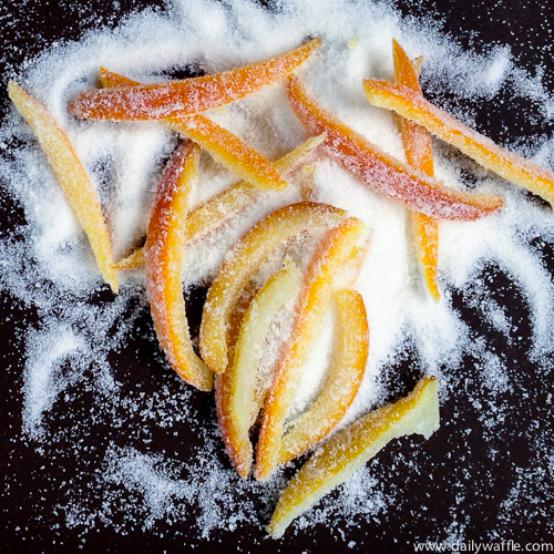 candied orange peel in sugar| dailywaffle
