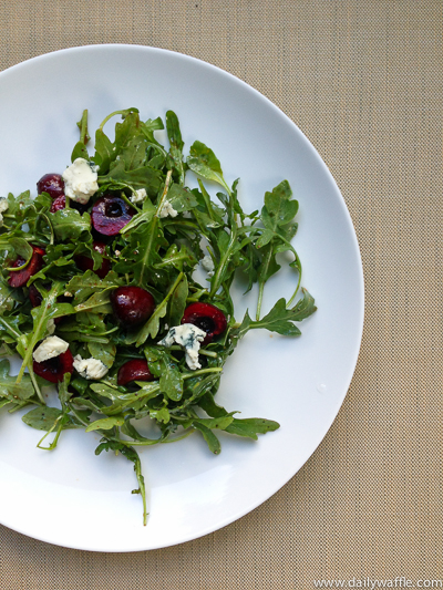 cherry arugula blue cheese salad| dailywaffle