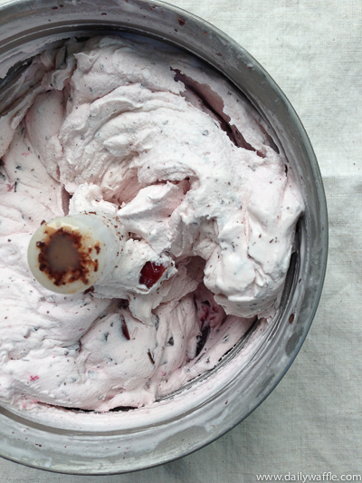 just churned cherry chocolate chunk| dailywaffle