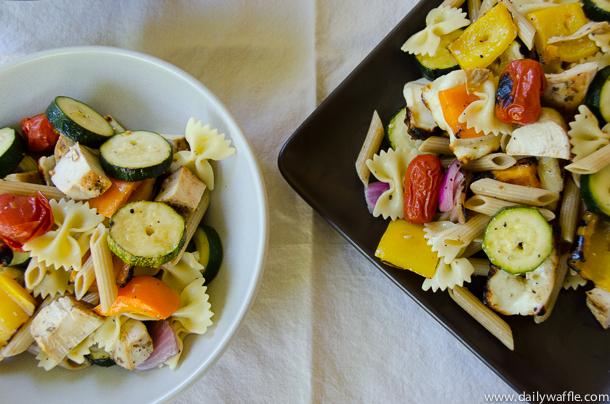 mediterreanean grilled vegetable salad plates  dailywaffle