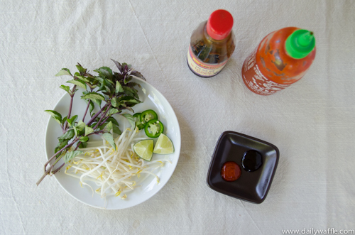 chicken pho ga garnishes |dailywaffle