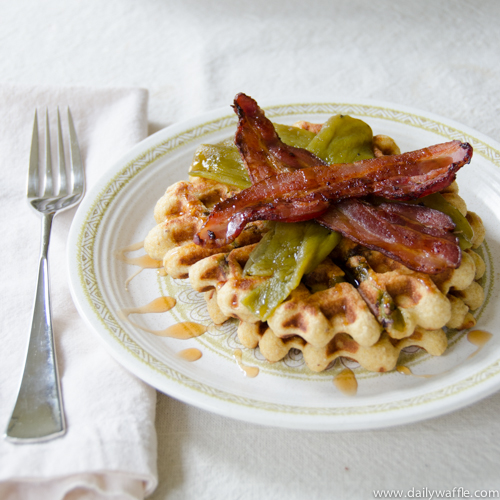 masa waffle with hatch chiles bacon| dailywaffle