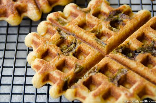 masa waffle with hatch chiles | dailywaffle