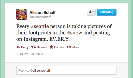 Seattle Snow Tweet