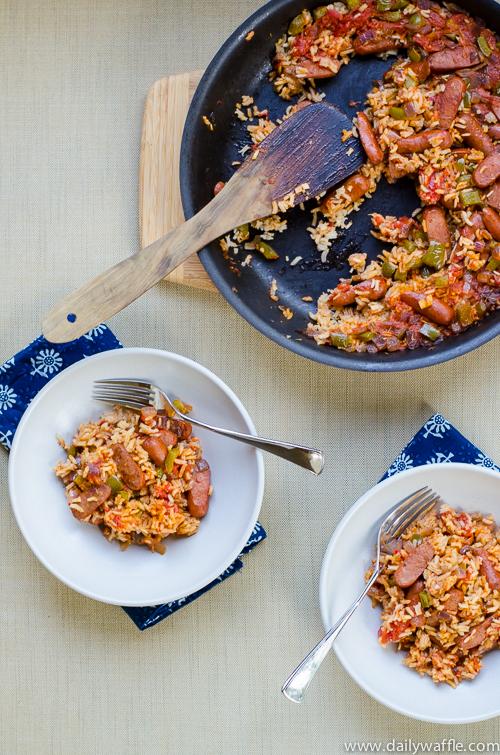 andouille sausage jambalaya |dailywaffle