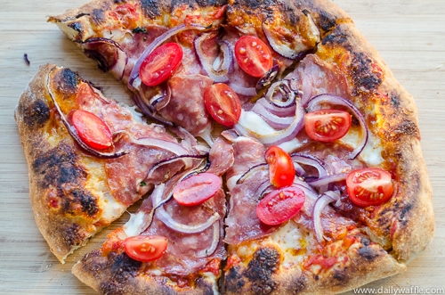 friday night slice soppresata onion cherry tomatoes  dailywaffle