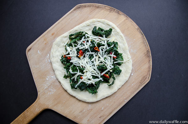 kale calabrian chile pizza prebake |dailywaffle