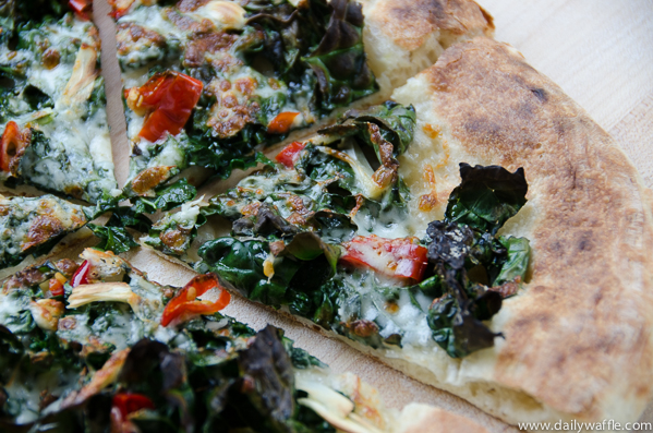 kale calabrian chile pizza slice |dailywaffle