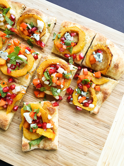 delicata squash flatbread with persimmon pomegranate| dailywaffle