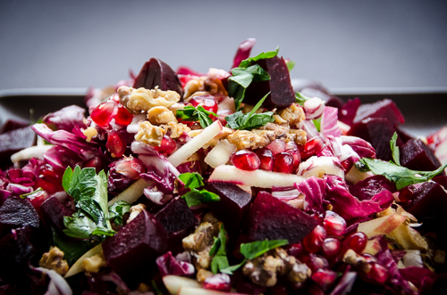 winter salad radicchio pomegranate beets