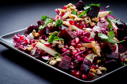 red radicchio honeycrisp pomegranate beet salad | dailywaffle