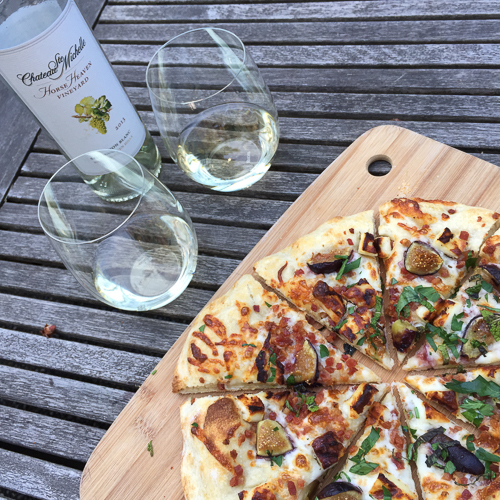 pancetta fig haloumi pizza with wine