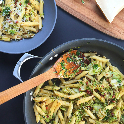 penne with brussels sprouts chile and pancetta | dailywaffle