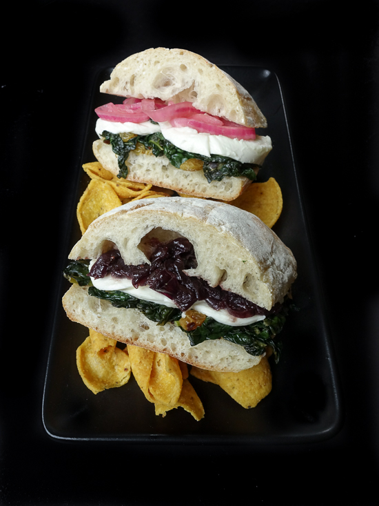 braised kale with mozzarella sandwich |dailywaffle