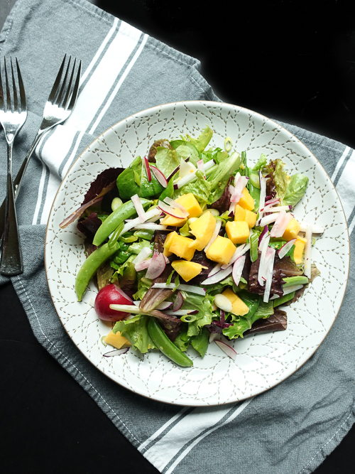 mango sugar snap radish spring fever salad |dailywaffle