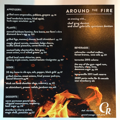 Around the Fire at Carlile Room menu