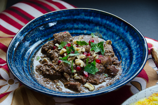 fesenjun persian chicken stew with pomegranate and walnuts