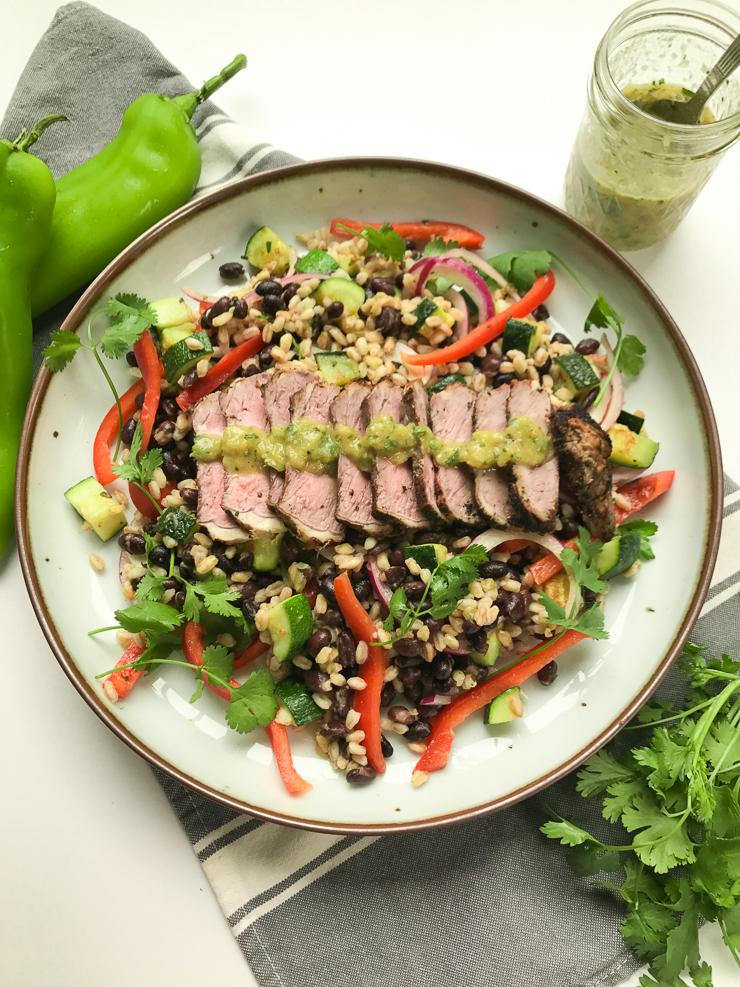 steak salad with hatch chile vinaigrette